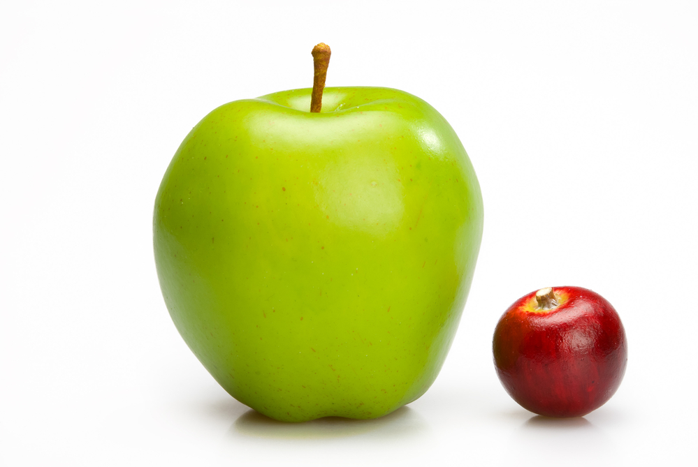 Sorting by size with large apple and small apple