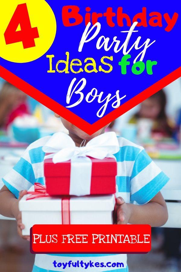 Birthday Party Ideas for Boys-Boy holding birthday presents-toyfultykes