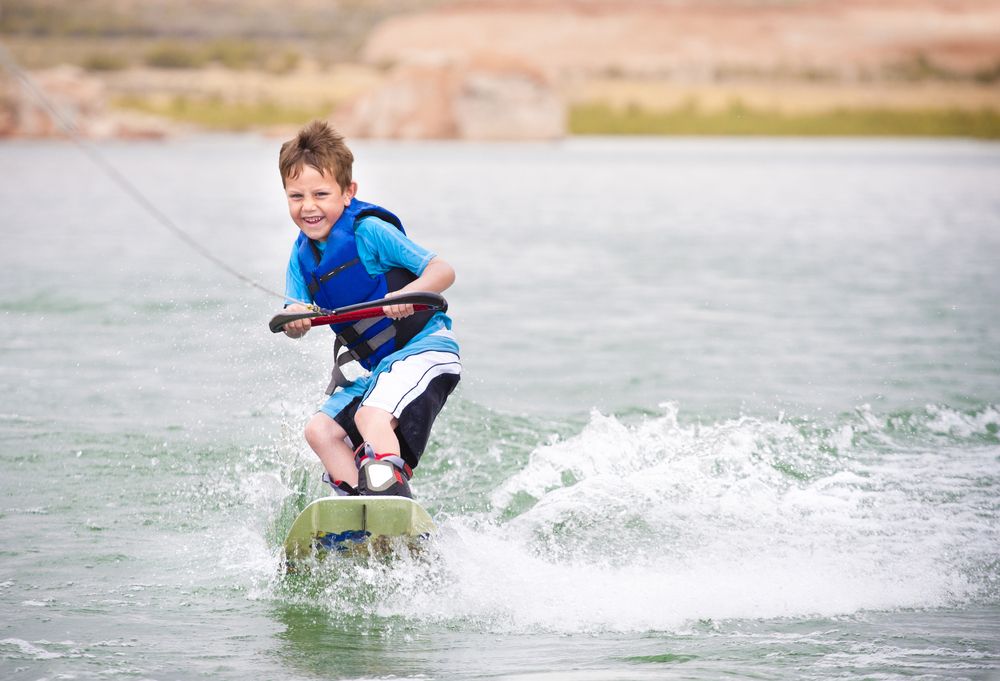 Boy on wakeboard