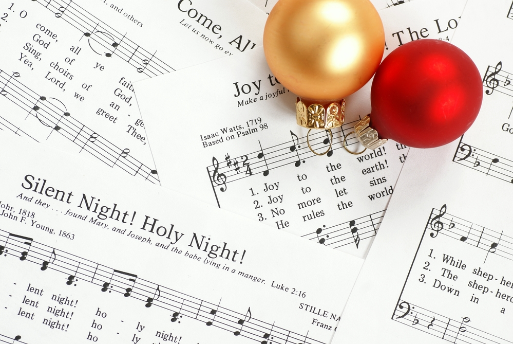 Sheet music of Christmas carols