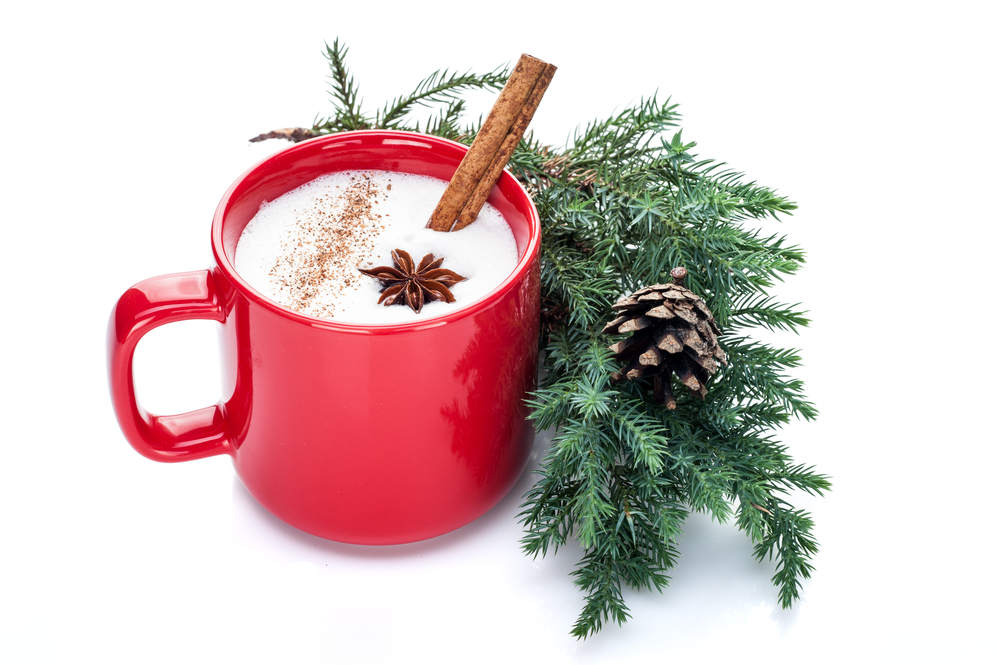 Eggnog with a cinnamon stick in a red mug next to a pine bough