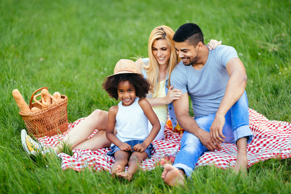 Father, mother and young daughter having a picnic on a red checkered picnic blanket in grass