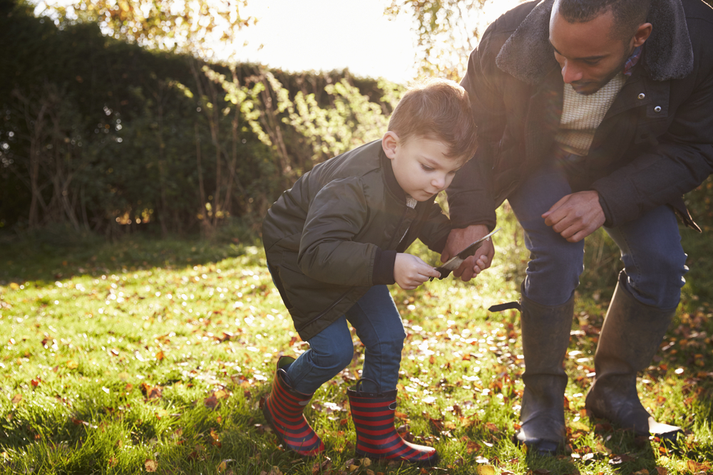 Boy And Father Playing With Feather In Autumn Garden