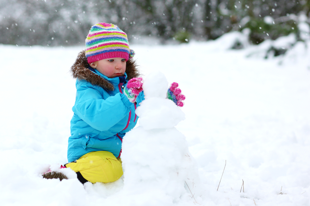 Girl building a snowman in the snow