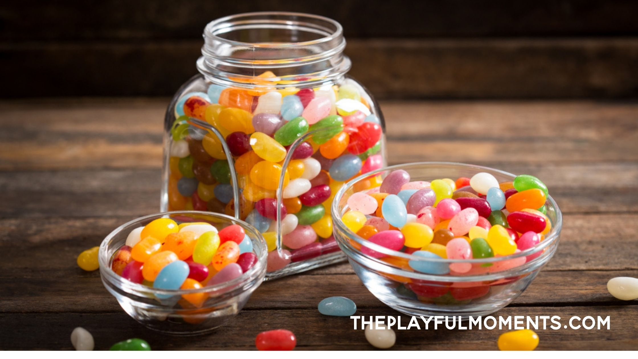 Jelly beans in glass bowls and jar