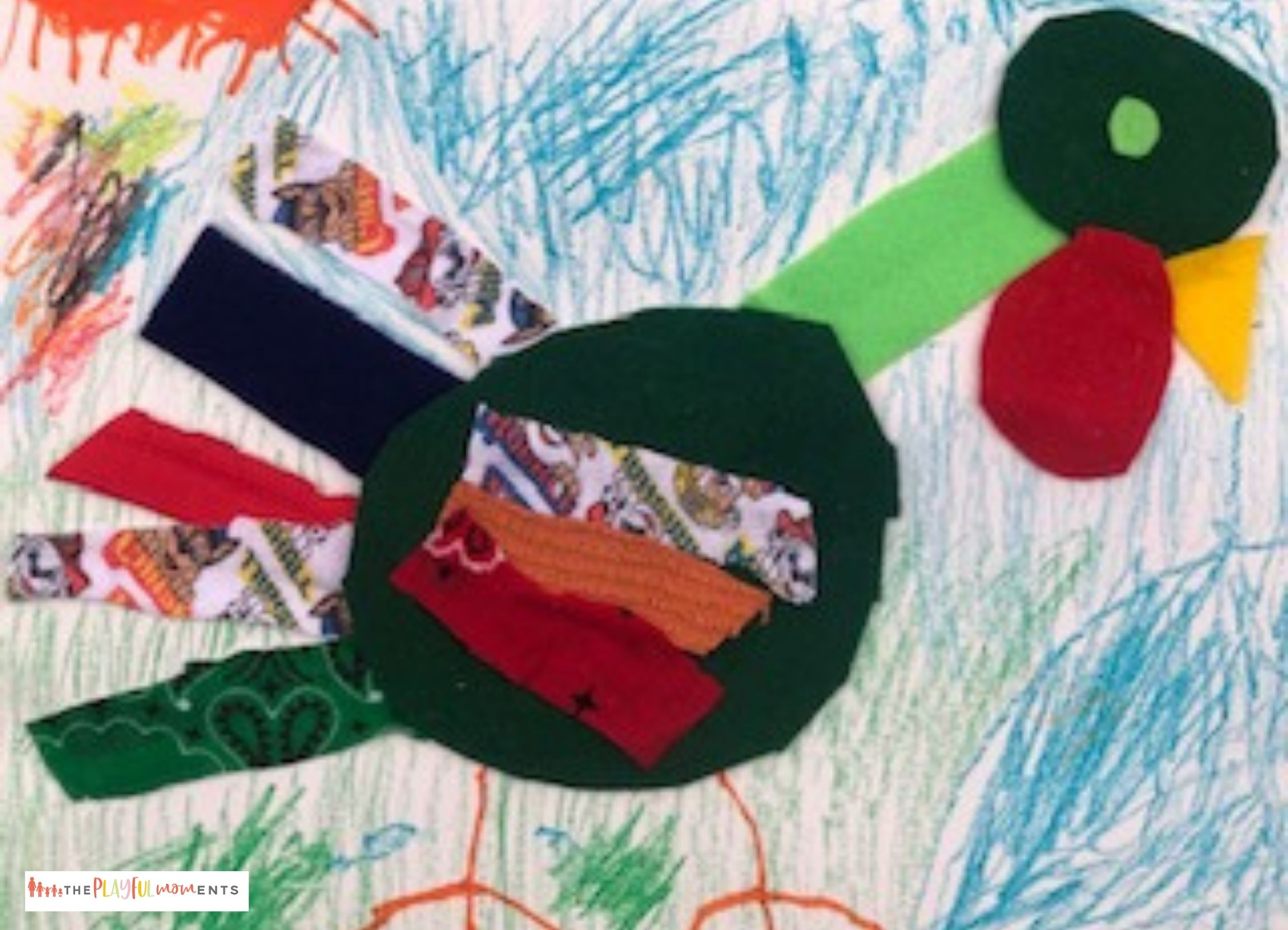 Turkey craft for kids made out of fabric scraps