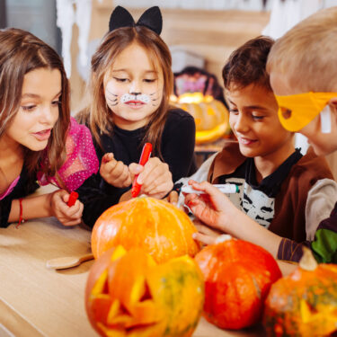 Kids in Costumes at Halloween Party
