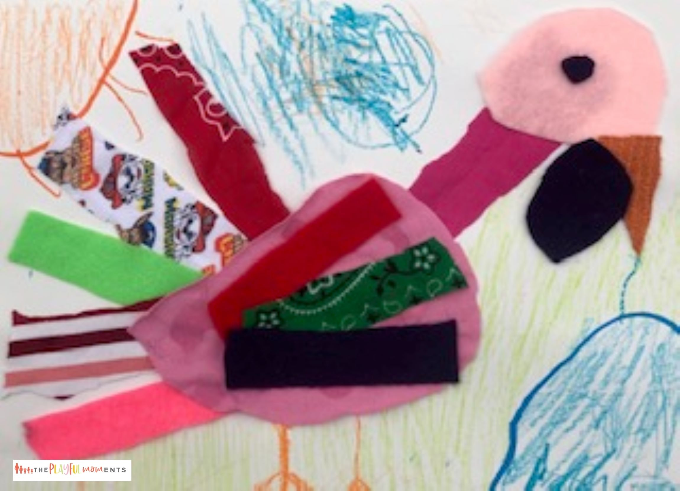 Pink turkey craft made out of fabric scraps