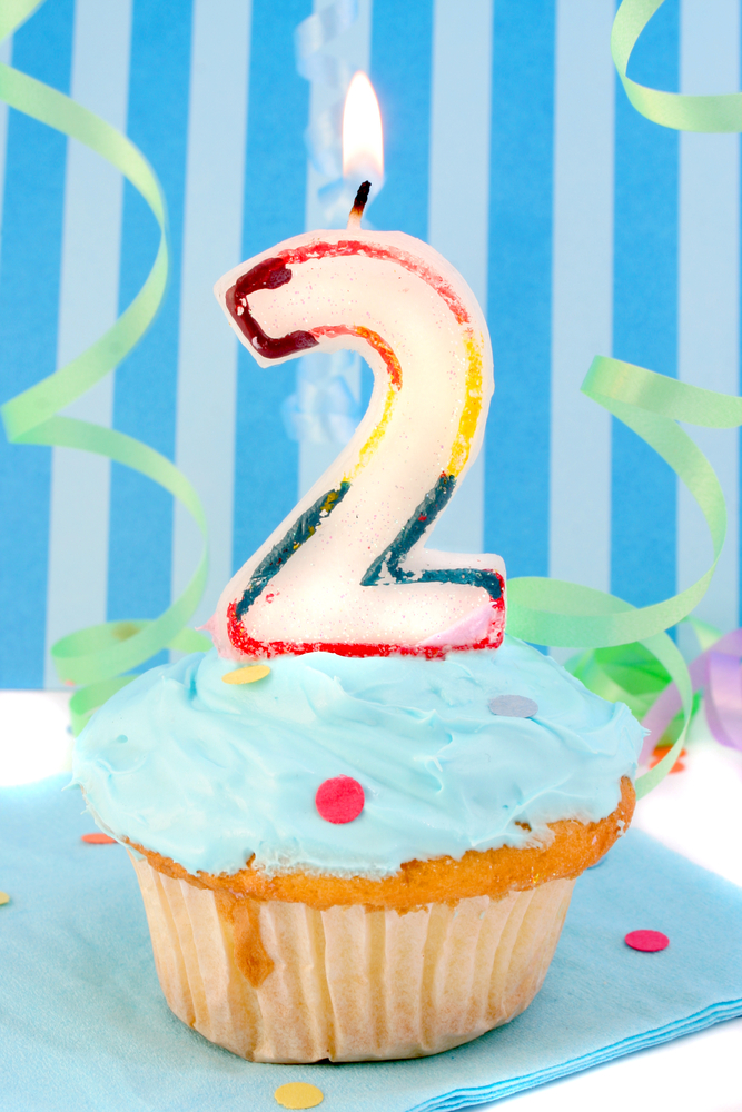 Number two candle on a cupcake