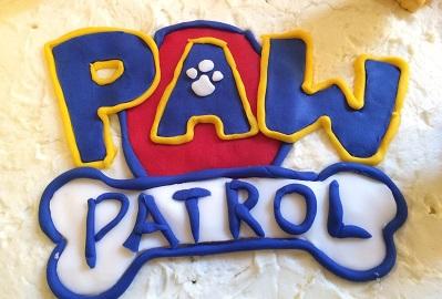Kids Birthday Party Ideas-Paw Patrol Logo on Cake-toyfultykes