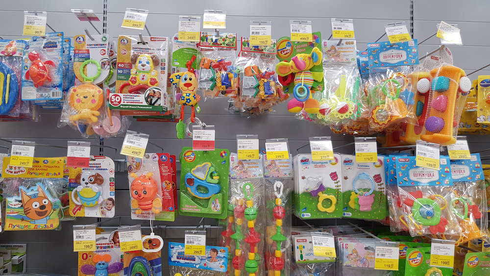 Baby toys for sale in a store