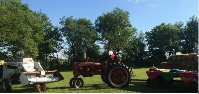 Kids Birthday Party Ideas-red tractor at birthday party-toyfultykes