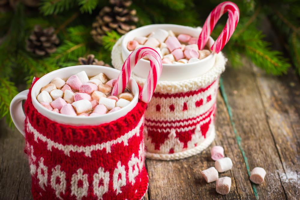 Two mugs of hot chocolate