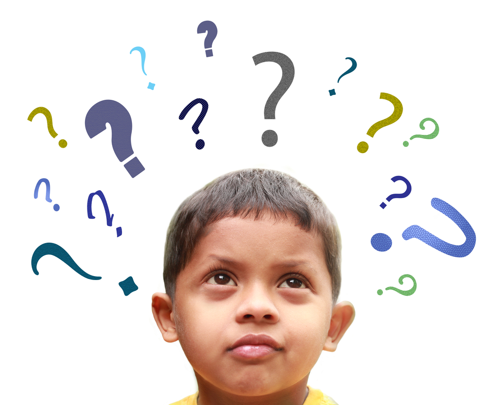 Young boy surrounded by question marks